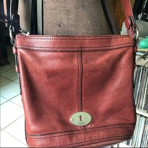 Fossil Reddish brown leather crossbody